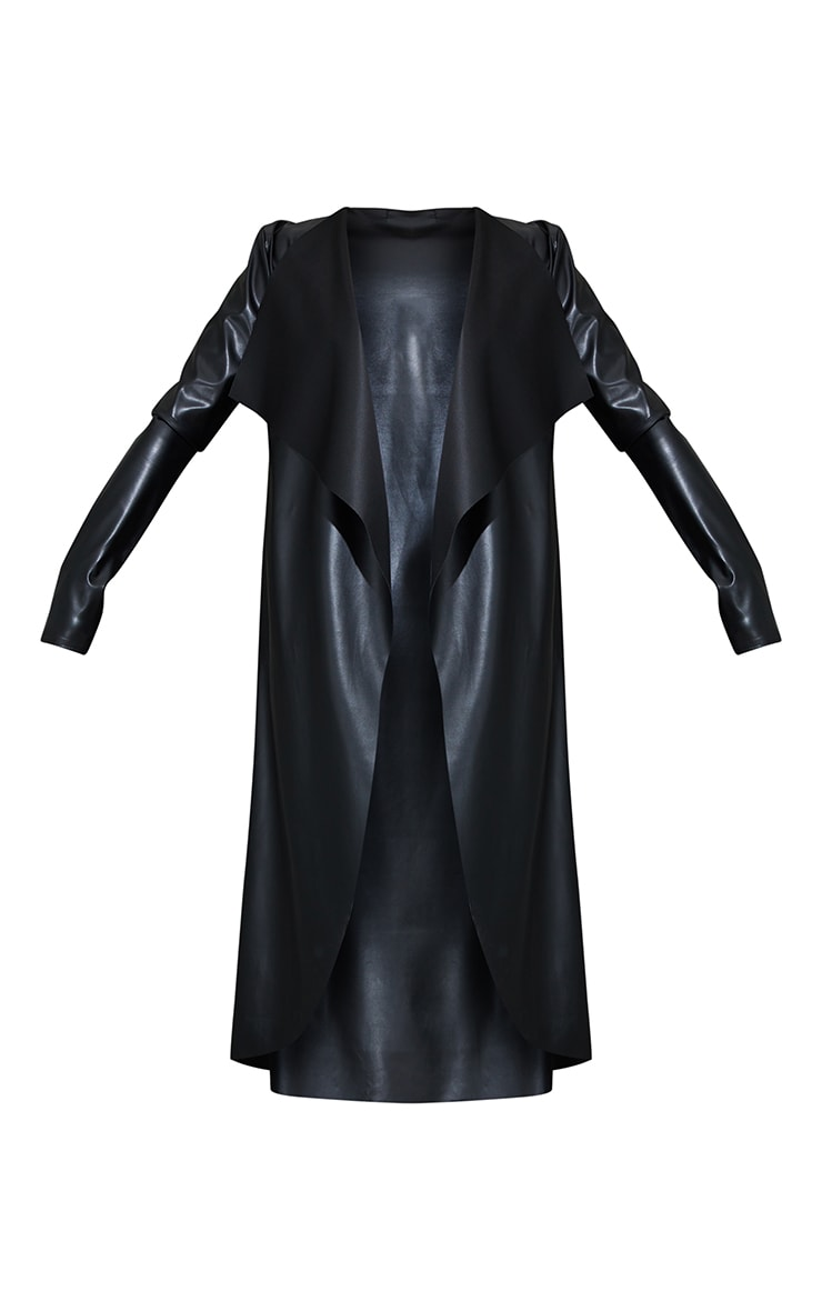 Black Faux Leather Waterfall Maxi Duster Jacket 5