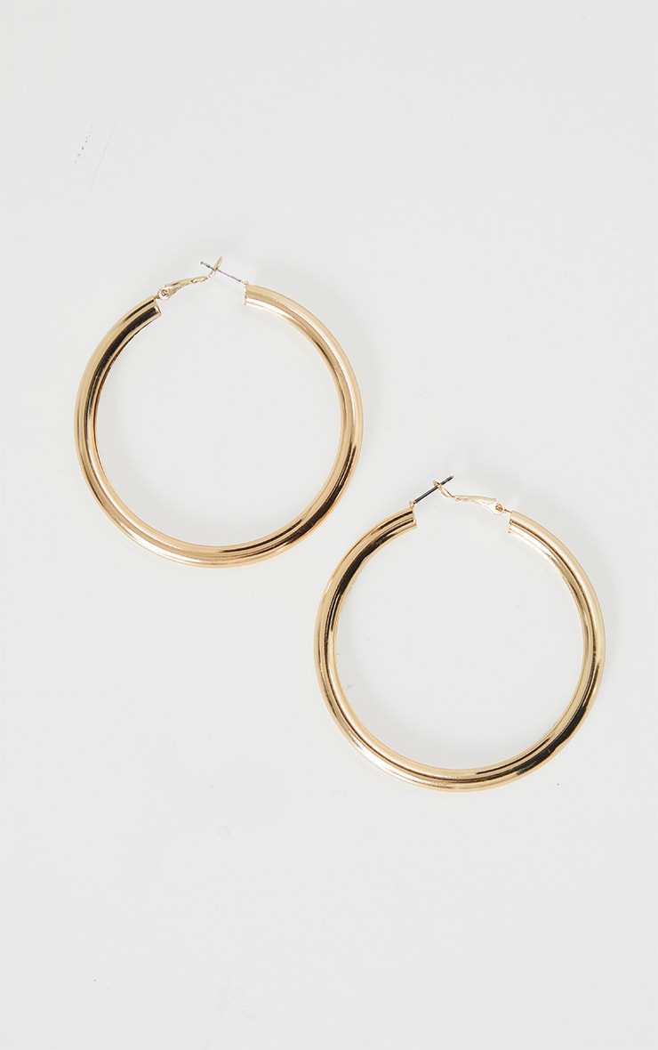 Gold Tubular Medium Hoop Earrings 2