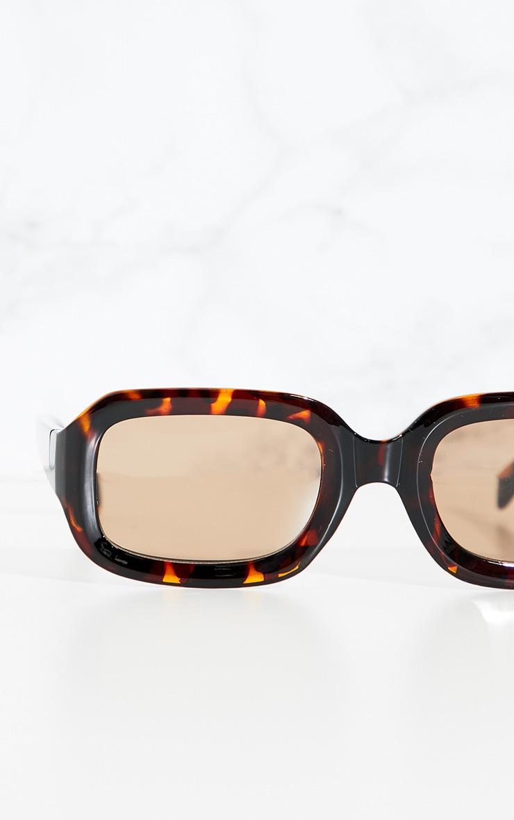 Tortoise Shell Square Retro Chunky Sunglasses 3