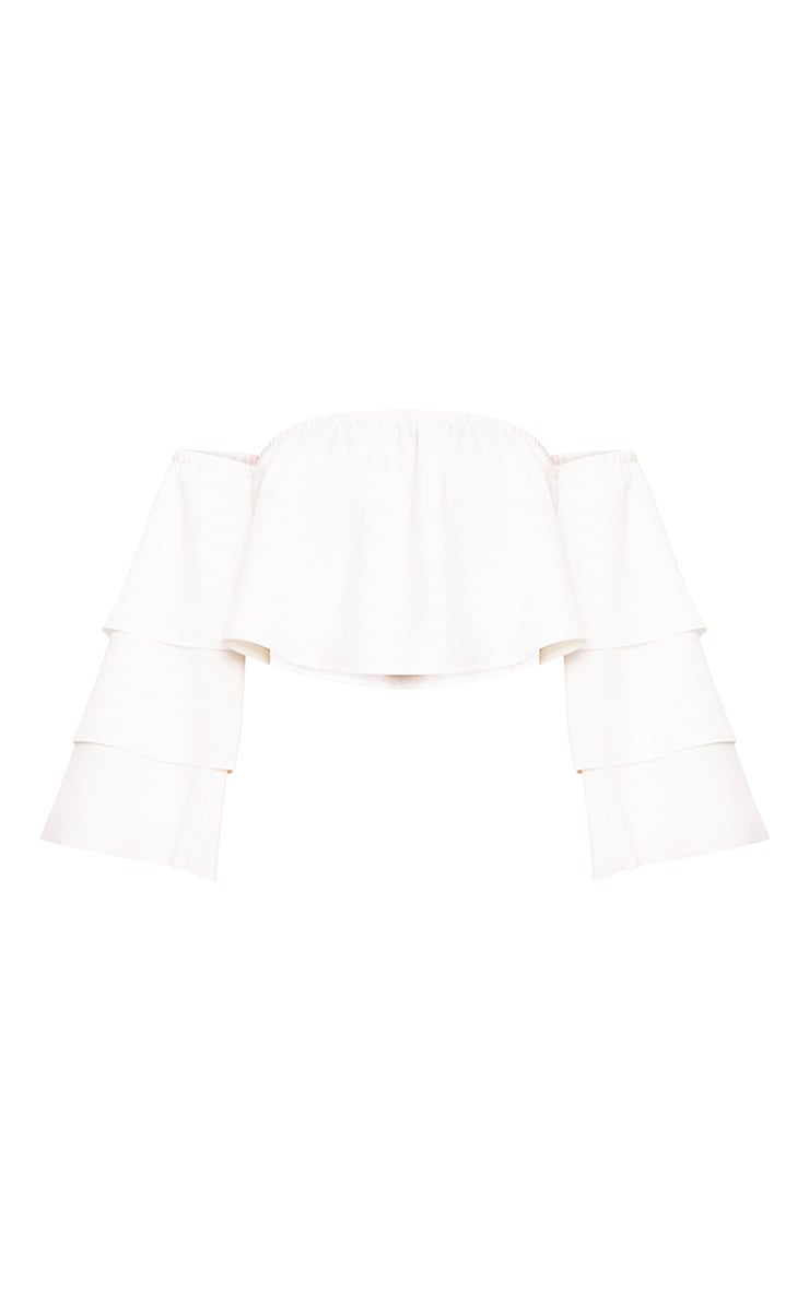 Cream Bardot Layered Frill Sleeve Crop Top 3