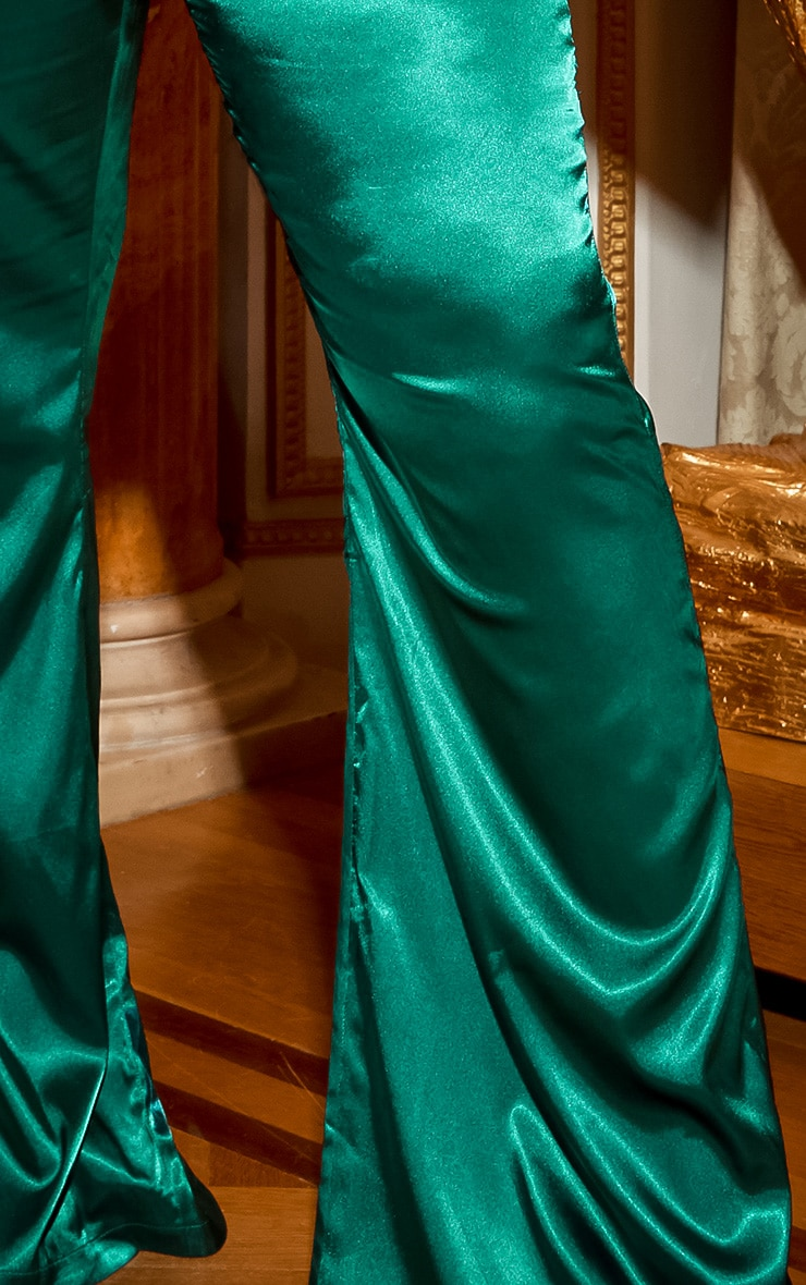 Emerald Green Satin Wide Leg Trouser 5