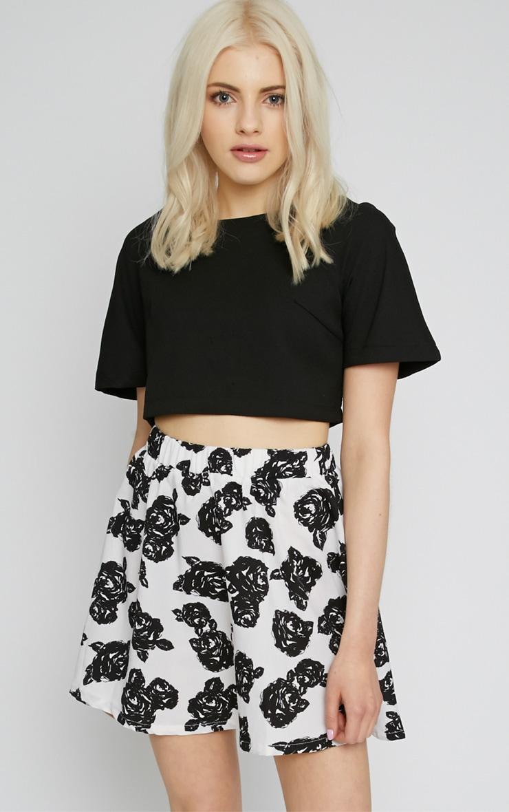 Fiona Monochrome Floral Print Skirt 1