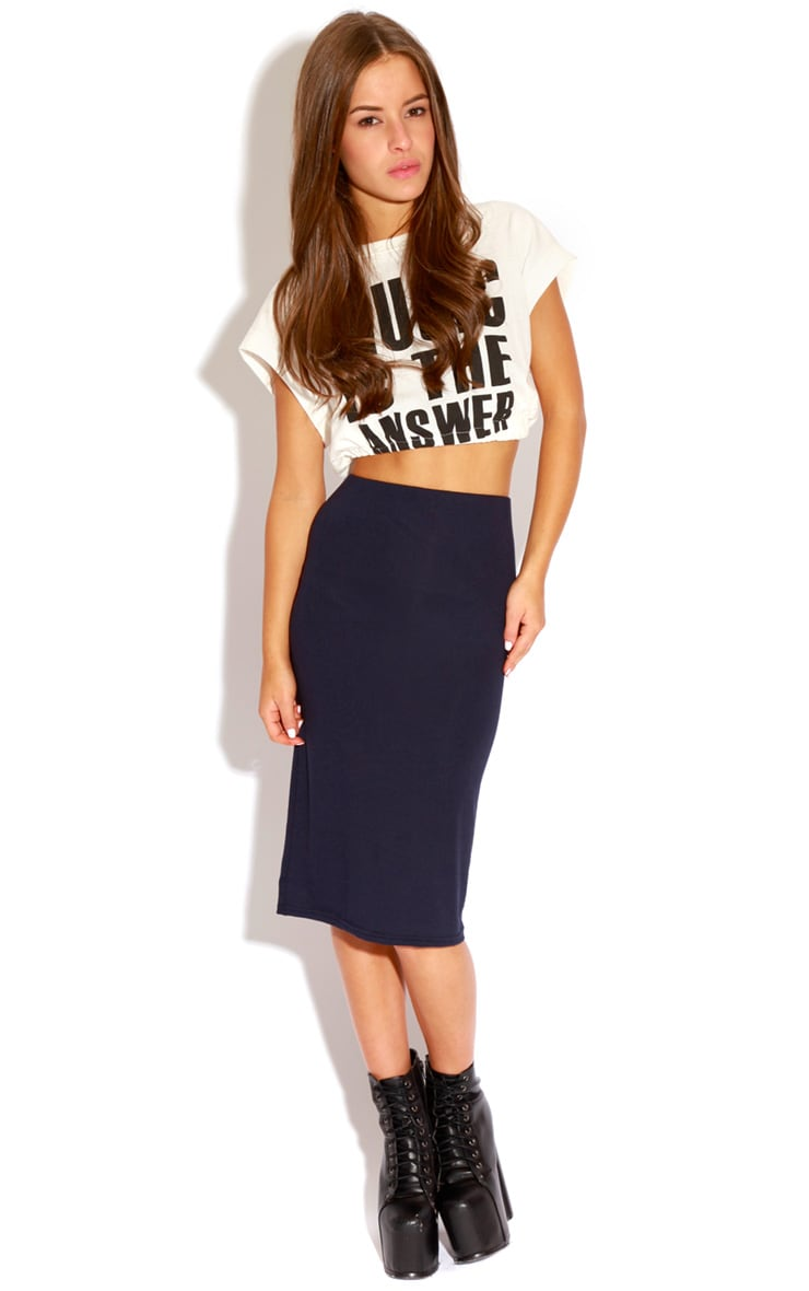 Marie Navy Basic Midi Skirt 1