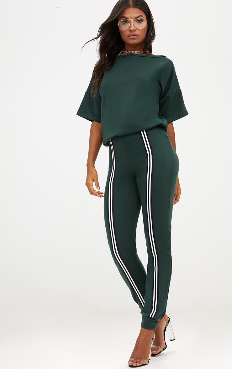 Forest Green  Loop Back Sports Stripe Jumpsuit 4