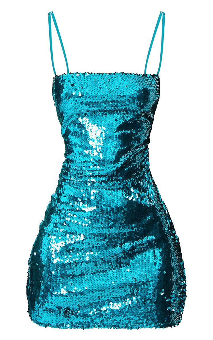 Teal Square Neck Sequin Bodycon Dress  2