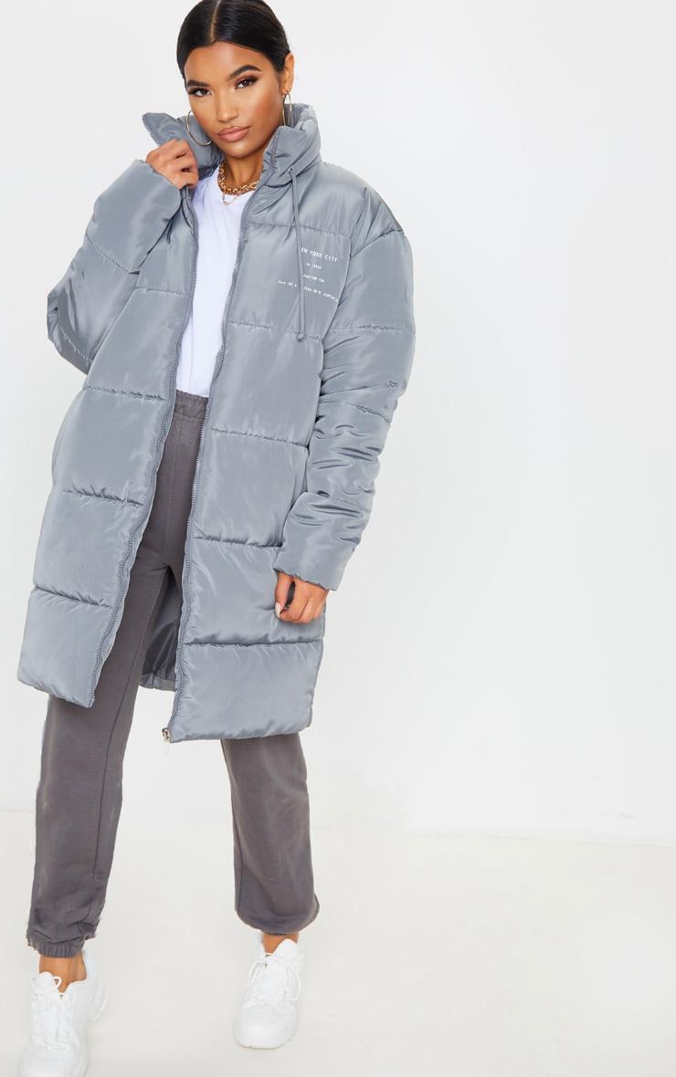 Grey Slogan Midi Oversized Puffer Coat 1