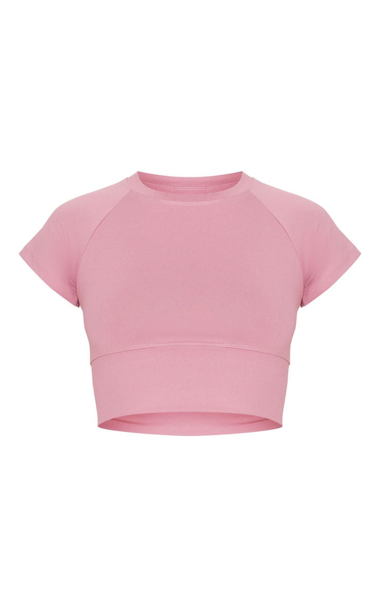 Dusty Pink Yoga Luxe Cropped Sports Tee 3
