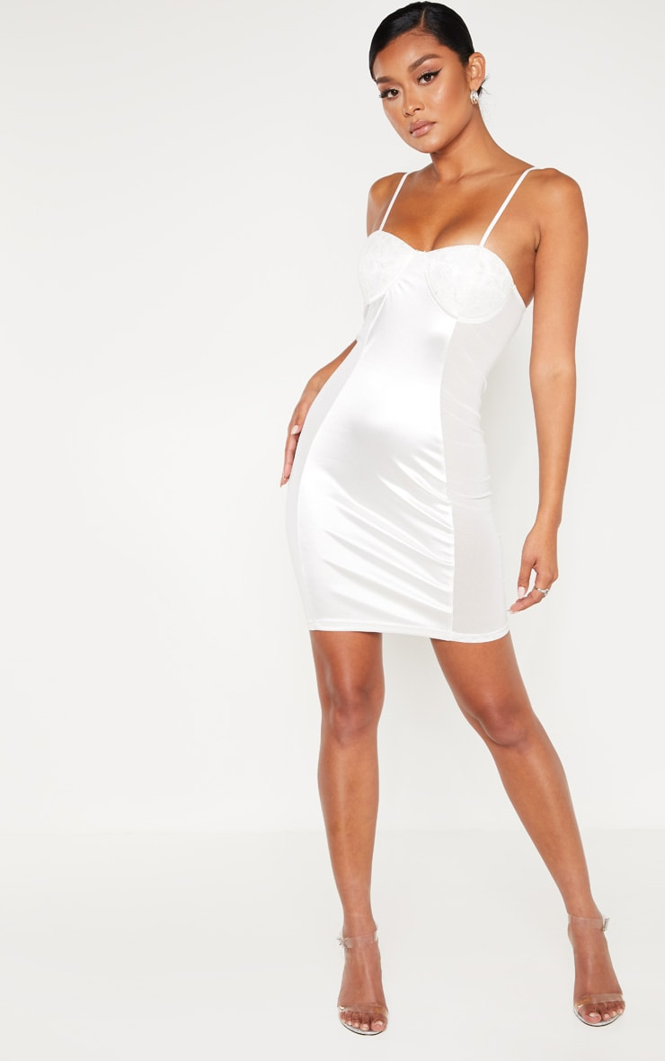 White Lace Cup Satin Mesh Insert Bodycon Dress 4
