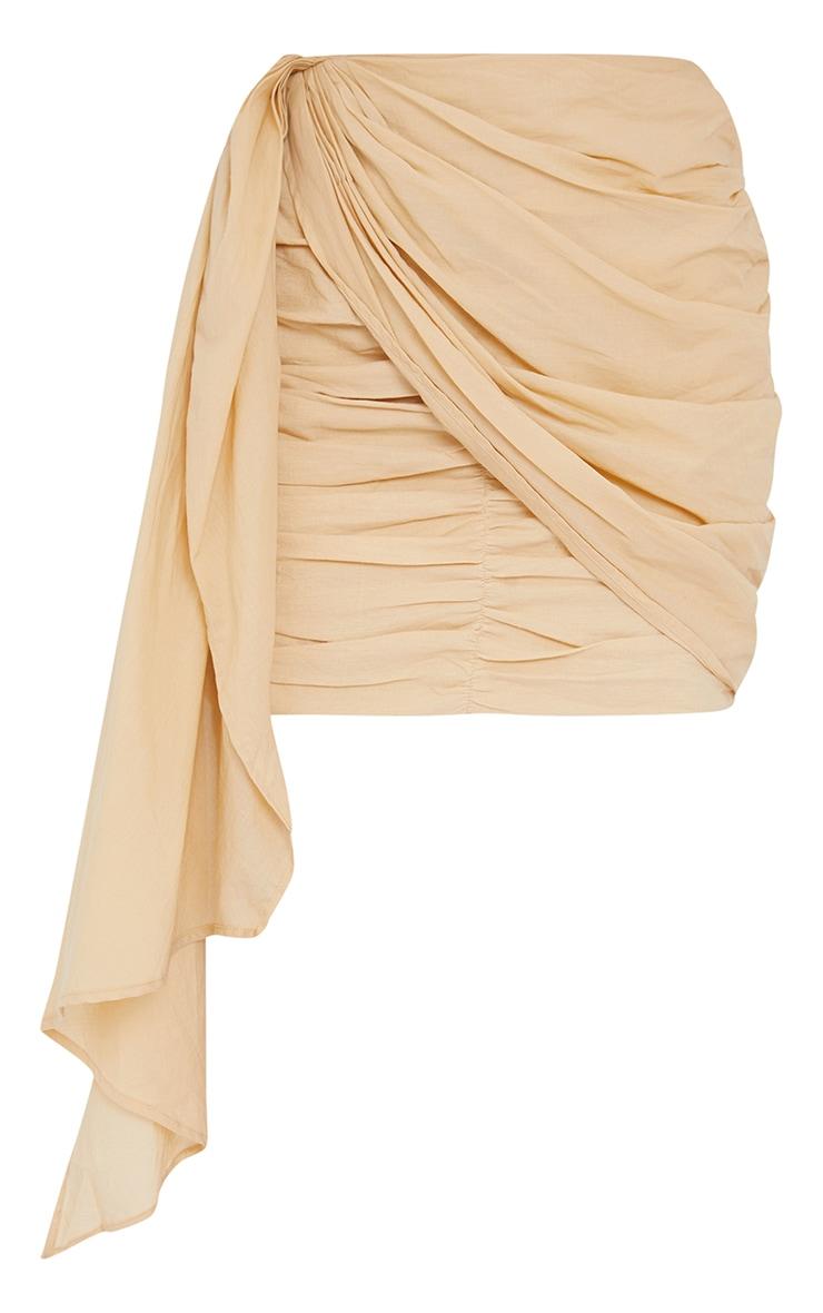 Mini-jupe beige froncée effet lin à devant drapé 6