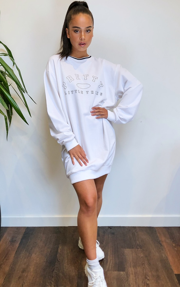 PRETTYLITTLETHING White Contrast Neck Oversized Sweater Dress 3
