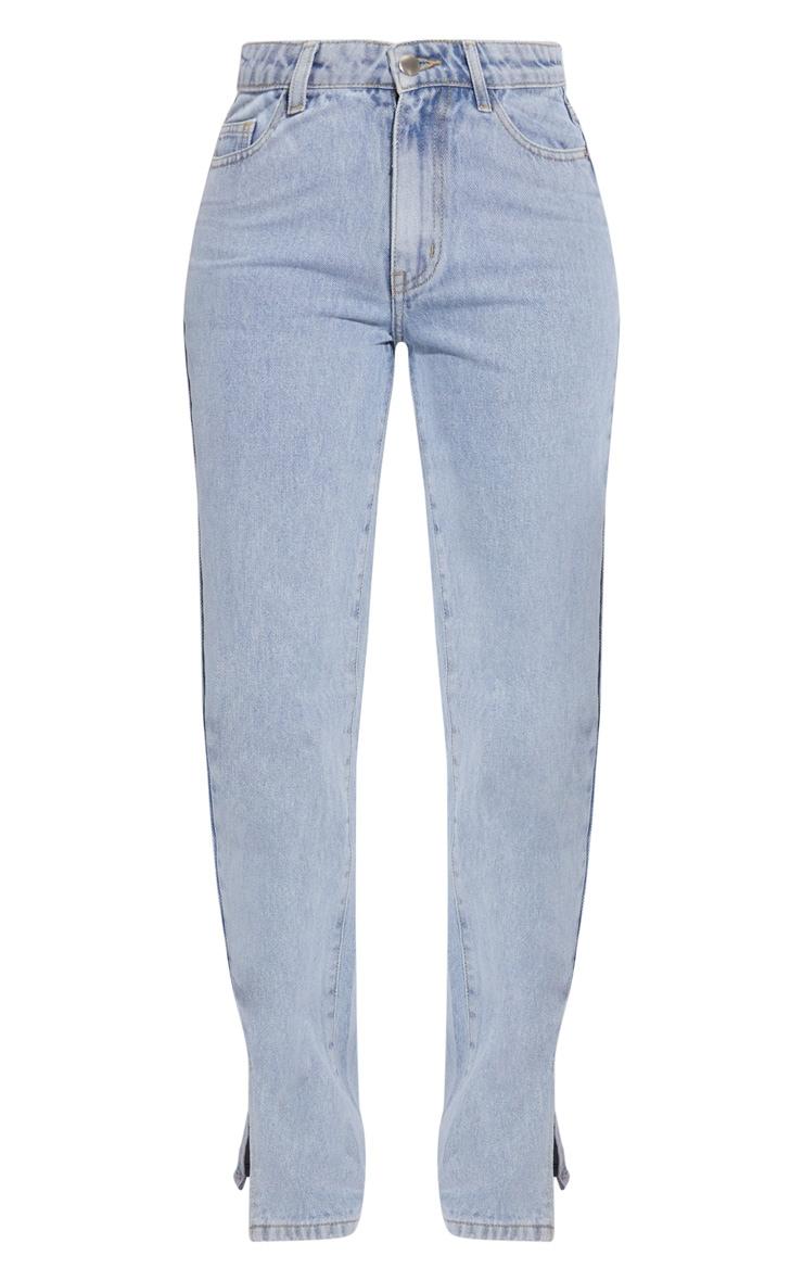 Petite Light Blue Dip Waist Split Hem Denim Jeans 5