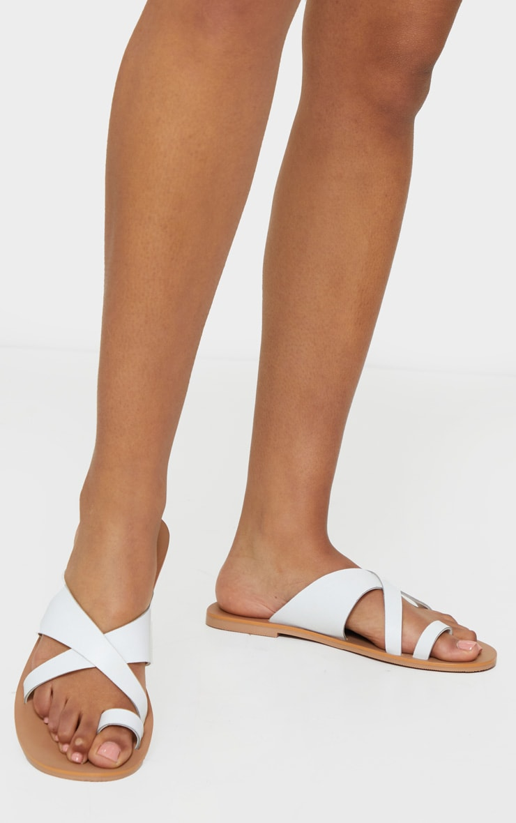 White Wide Fit Leather Cross Strap Toe Loop Sandals 2