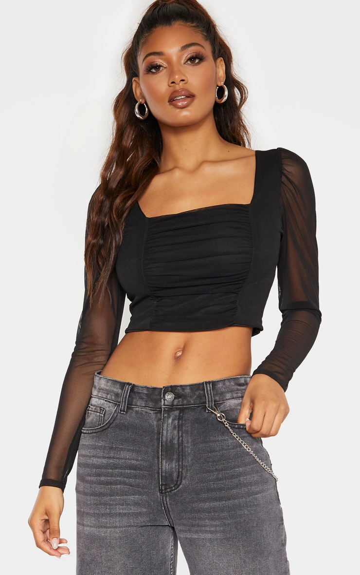 Tall Black Square Neck Mesh Ruched Long Sleeve Crop Top 4