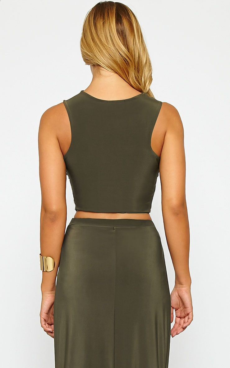 Dalia Khaki Wrap Crop Top 2