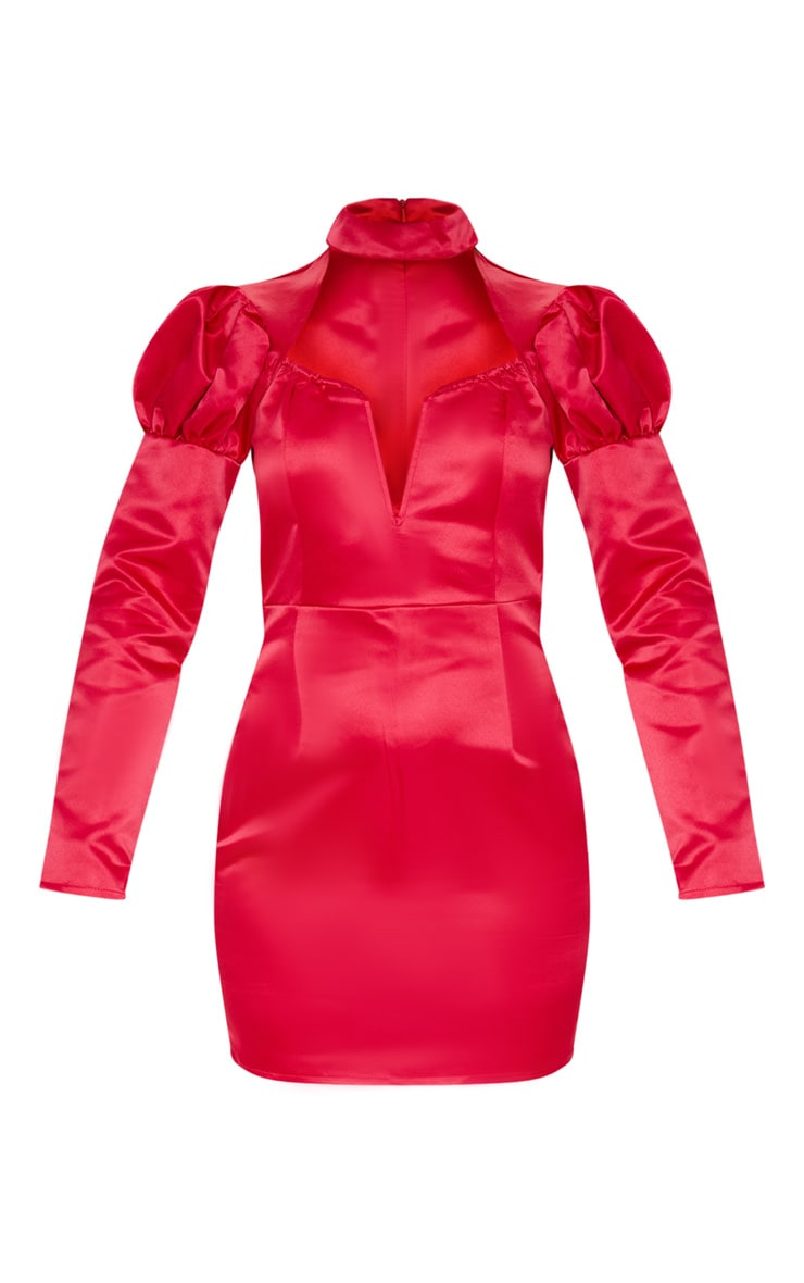 Red Jacquard High Neck Puff Shoulder Bodycon Dress 3
