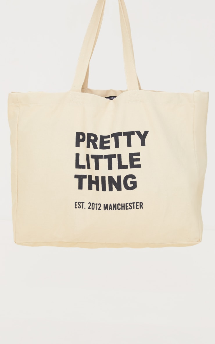 PRETTYLITTLETHING Sand Oversized Tote Bag 2