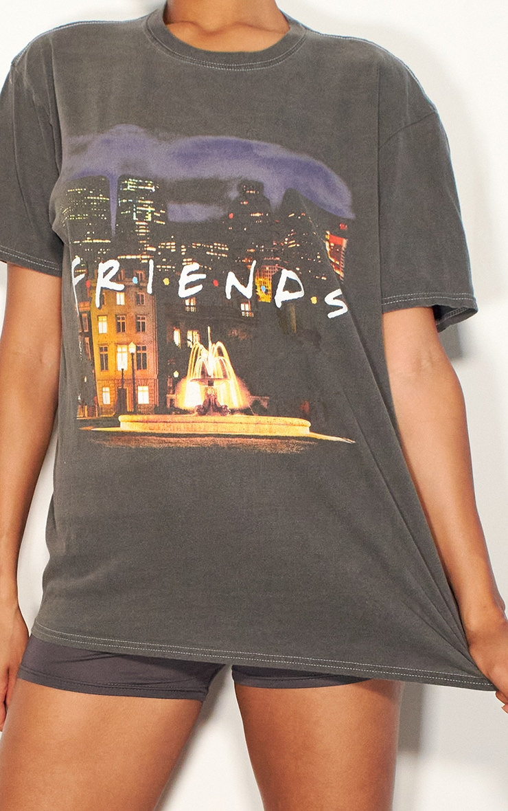 Charcoal Grey Friends Photographic Printed Washed T Shirt 4