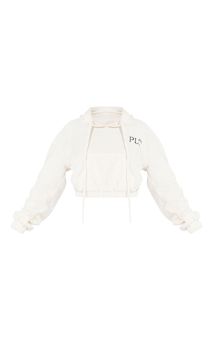 PRETTYLITTLETHING Petite Cream Cropped Chenille Hoodie 5
