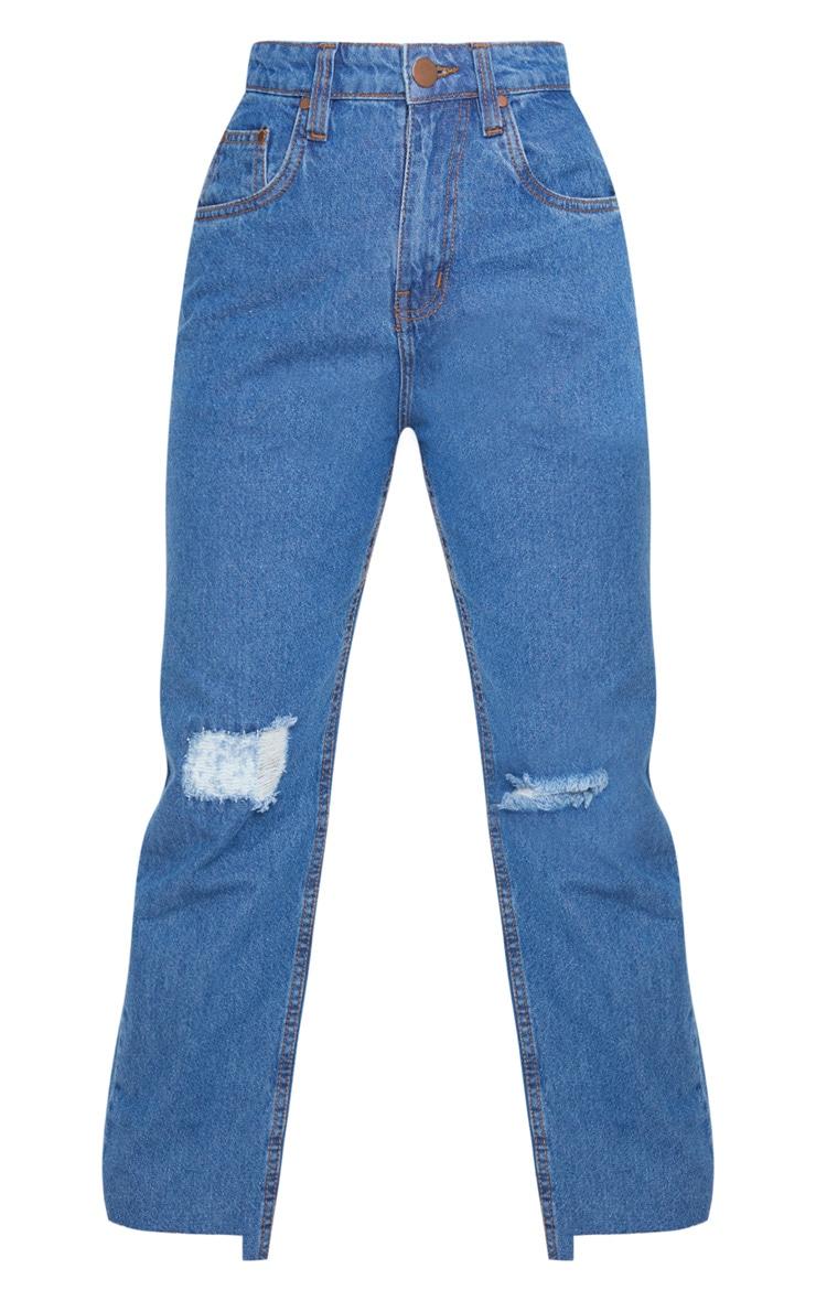Petite Mid Wash Distressed Knee Stepped Hem Jeans 3