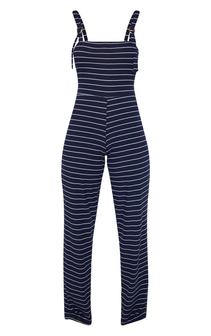 Navy Striped D Ring Strap Detail Jumpsuit 3