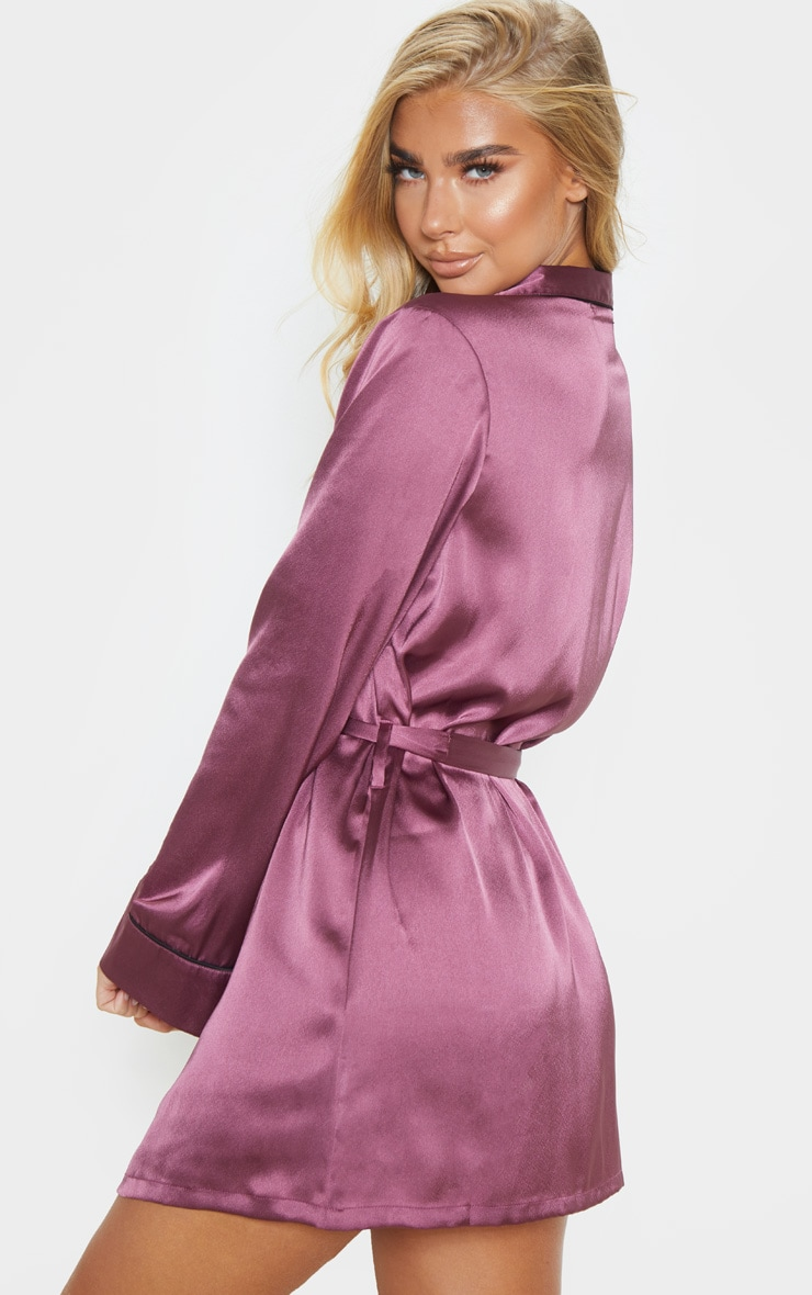 Berry Satin Piped Robe 2