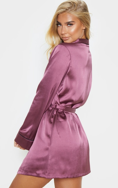 Berry Satin Piped Robe