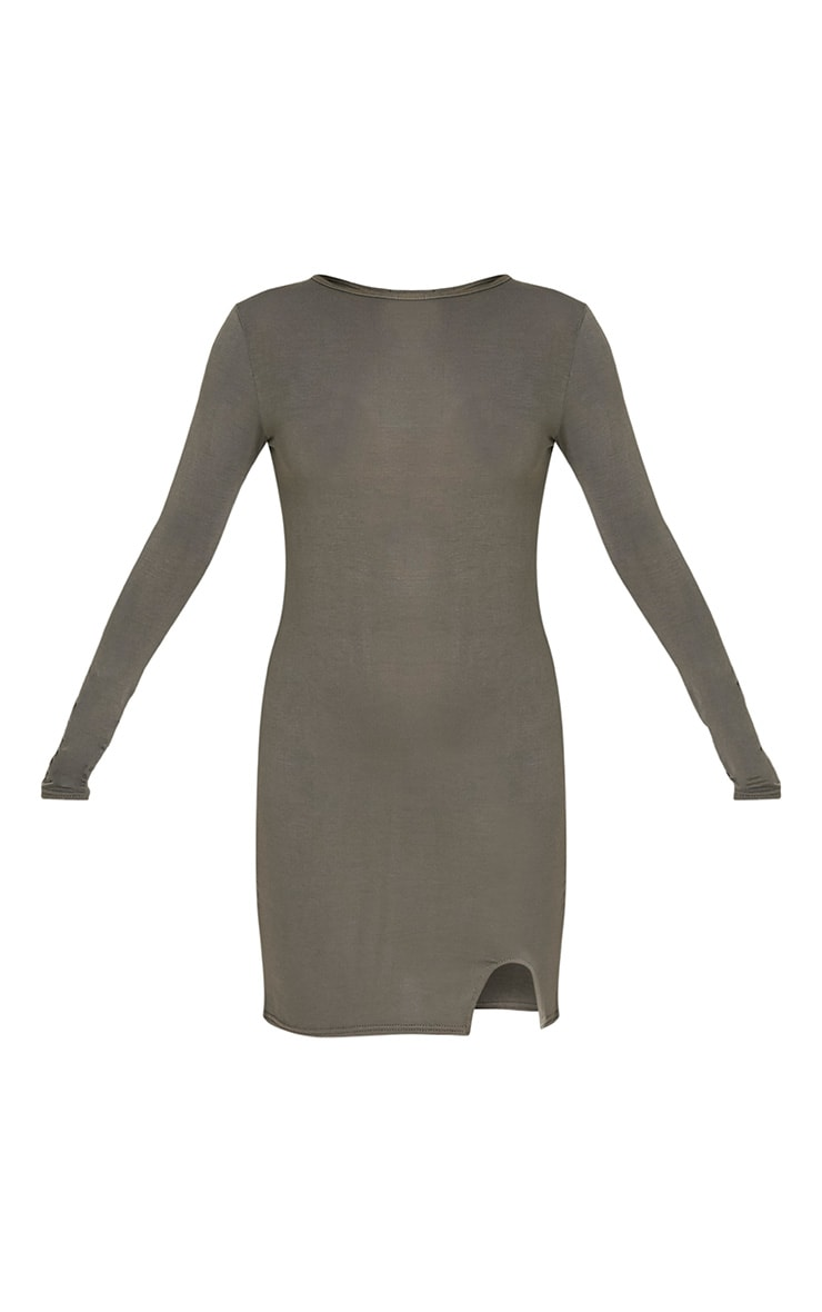 Katiya Khaki Long Sleeve Split Front Bodycon Dress 3