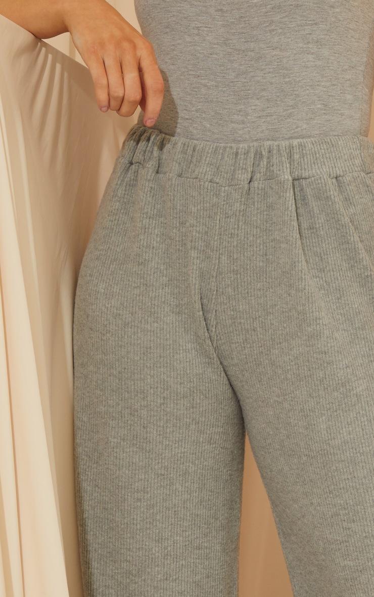 Grey Brushed Rib Wide Leg Pants 4