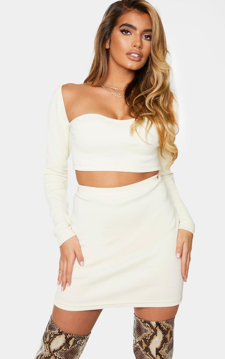 Cream Structured Rib Mini Skirt 4