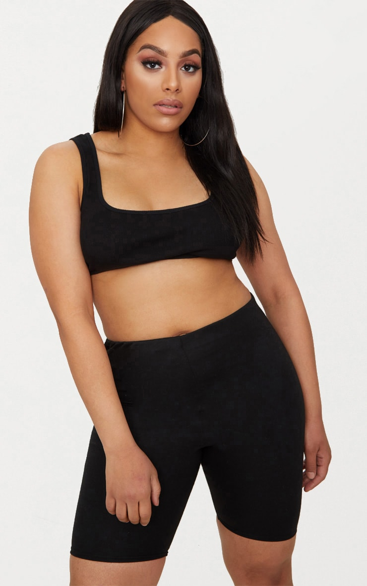 Plus Black Second Skin Ribbed Extreme Crop Top 1