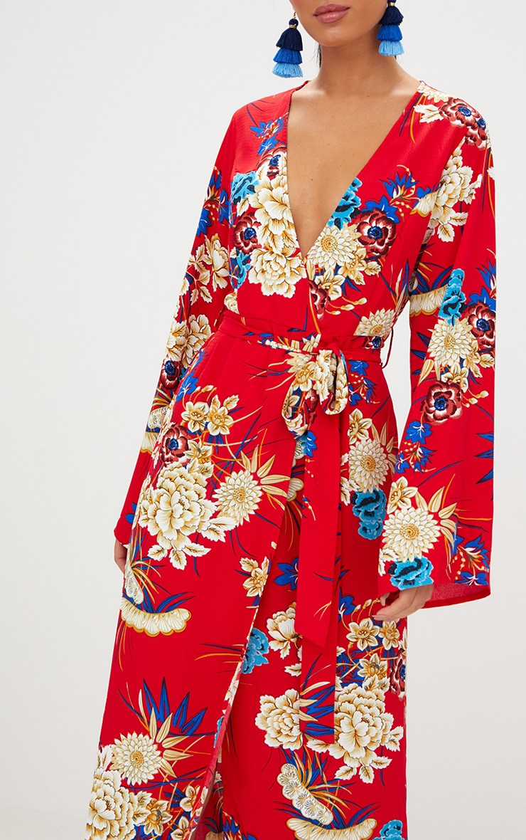 Robe kimono maxi rouge à imprimé fleuri 4