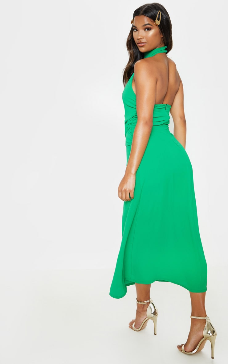Green Halterneck Wrap Front Maxi Dress 2