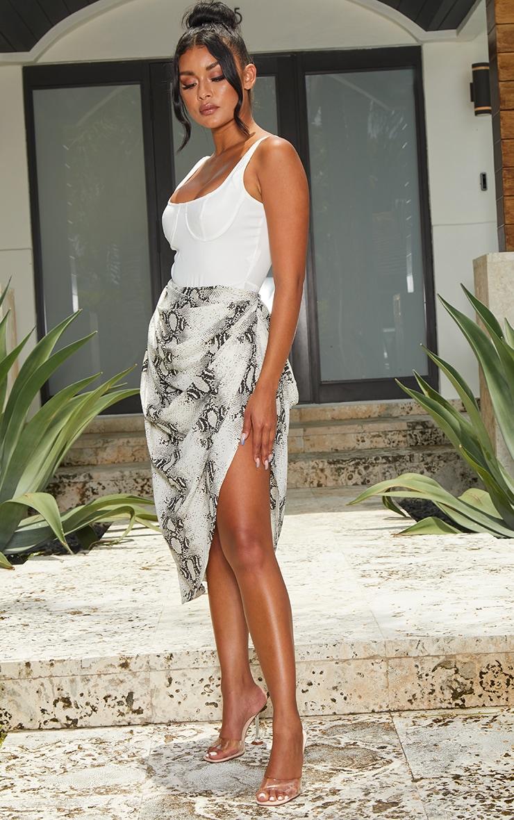 Grey Snake Ruched Side Midi Skirt 4