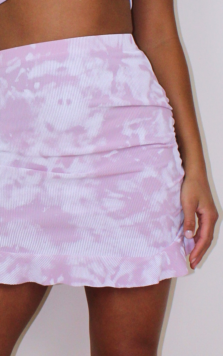 Petite Lilac Ribbed Tie Dye Frill Skirt 5