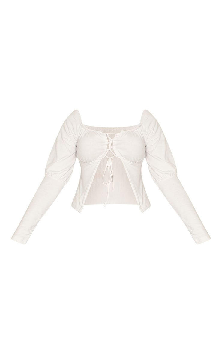 White Ruched Cup Tie Front Longsleeve Crop Top 5