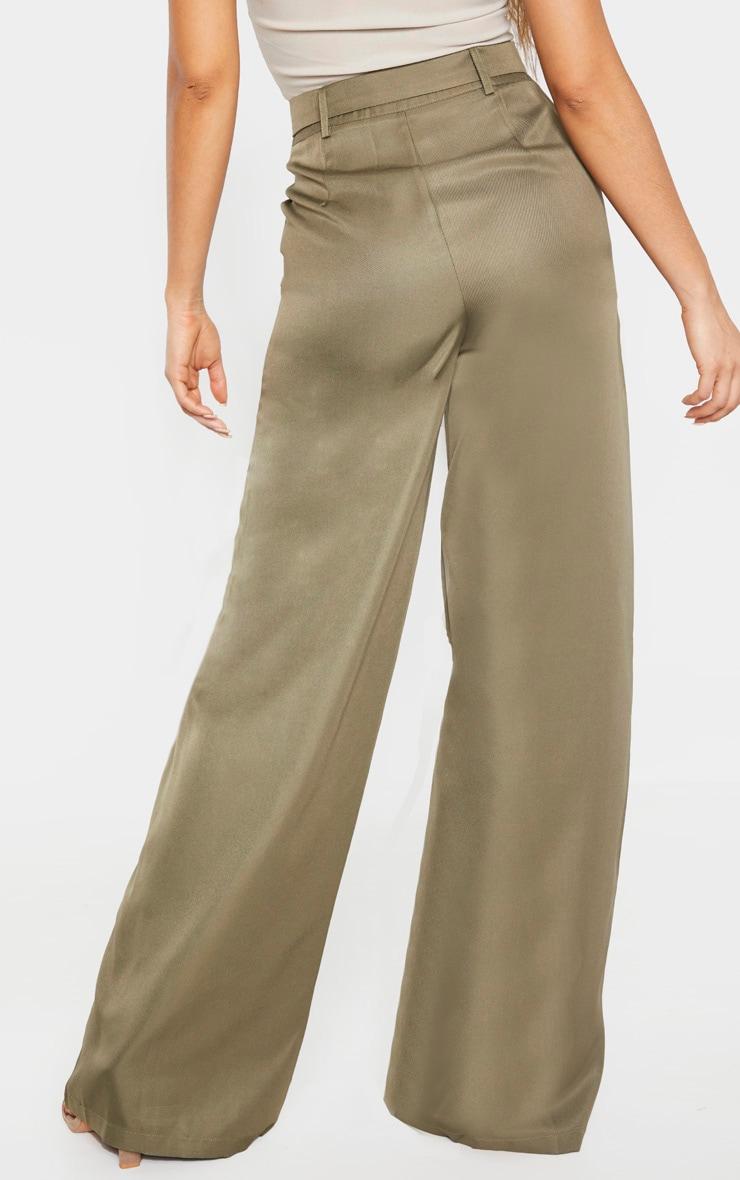 Tall Khaki Belted Cargo Wide Leg Trouser 4