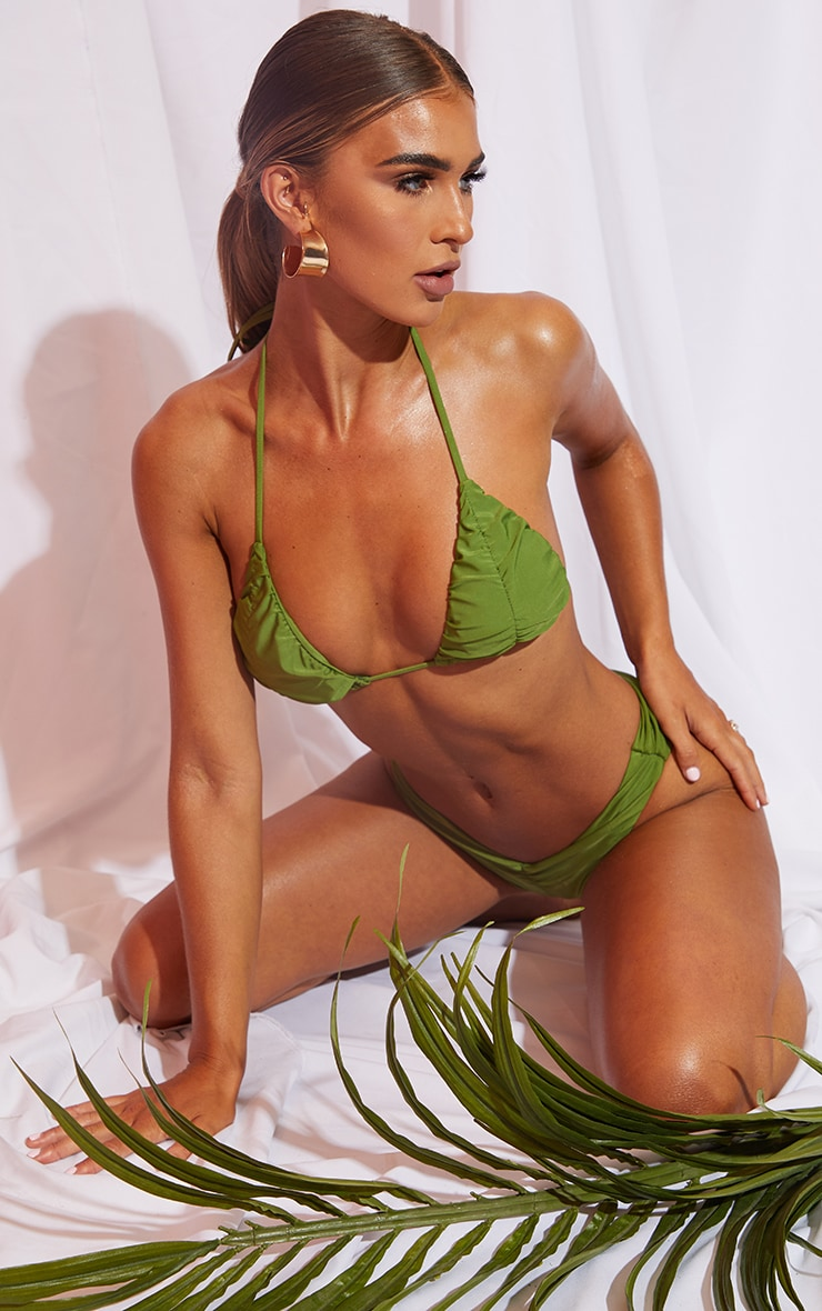 Olive Ruched Cup Padded Triangle Bikini Top image 3