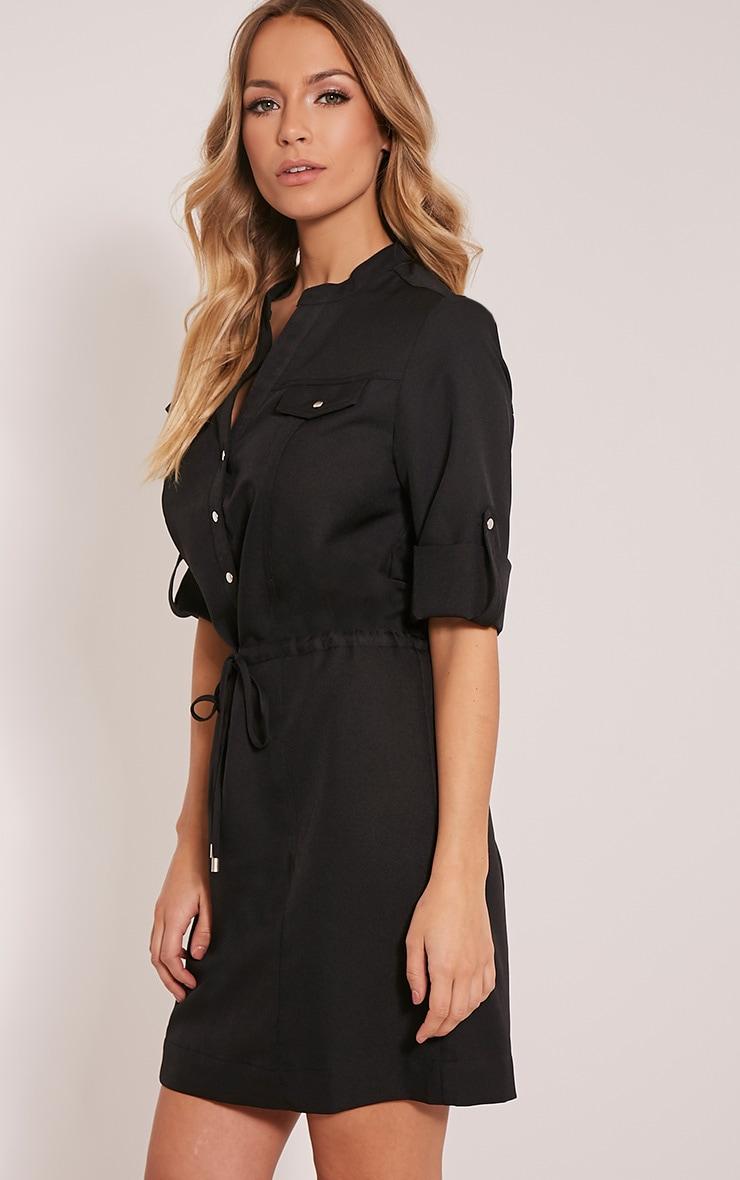 Teeya Black Collarless Shirt Dress 4