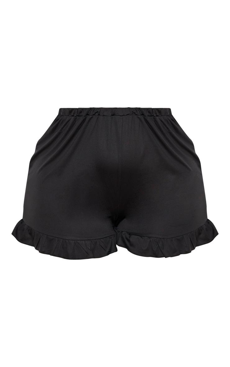 Plus Black Frill Hem Swim Short  3