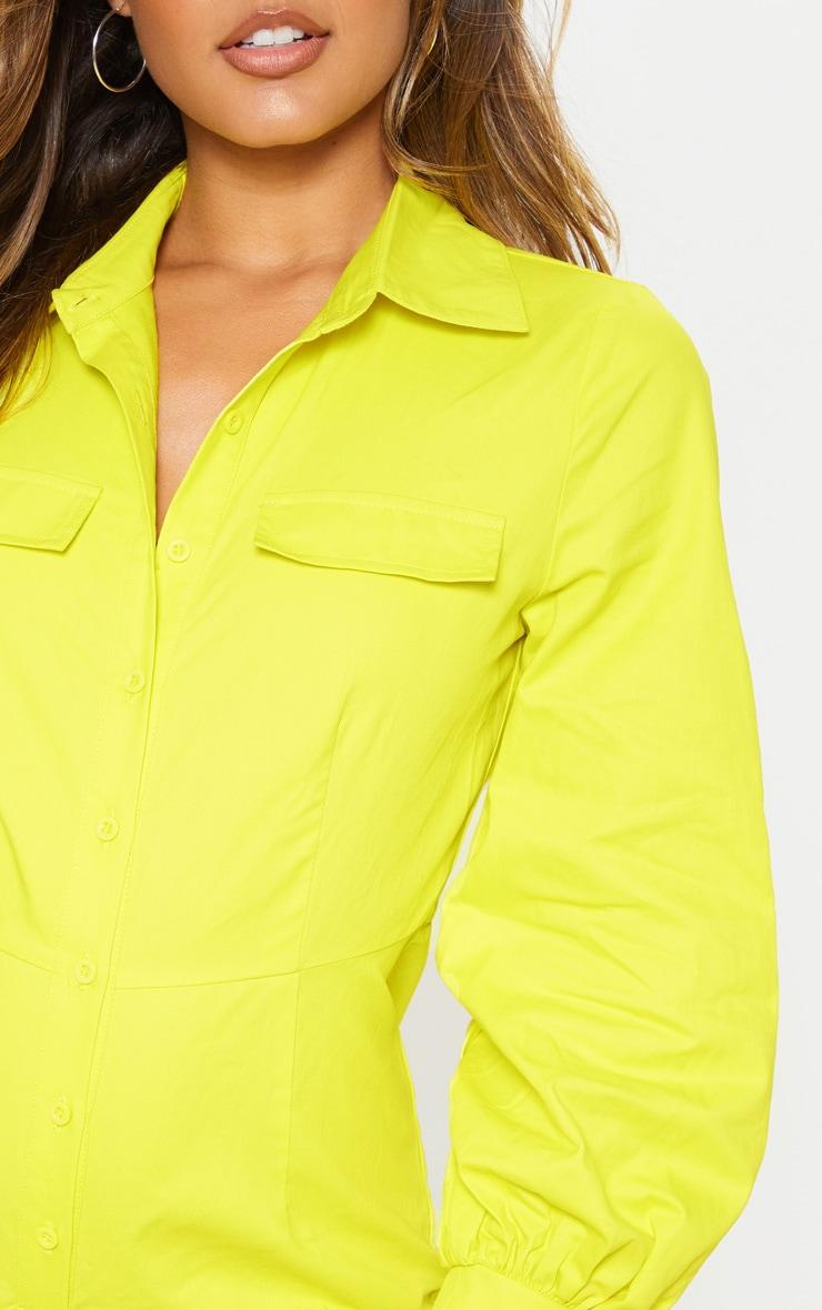 Combishort vert citron fluo à manches longues et détail chemise à boutonner 5