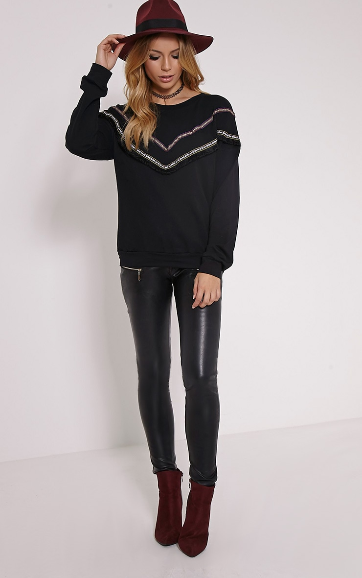 Kaysha Black Tribal Fringe Jumper 3