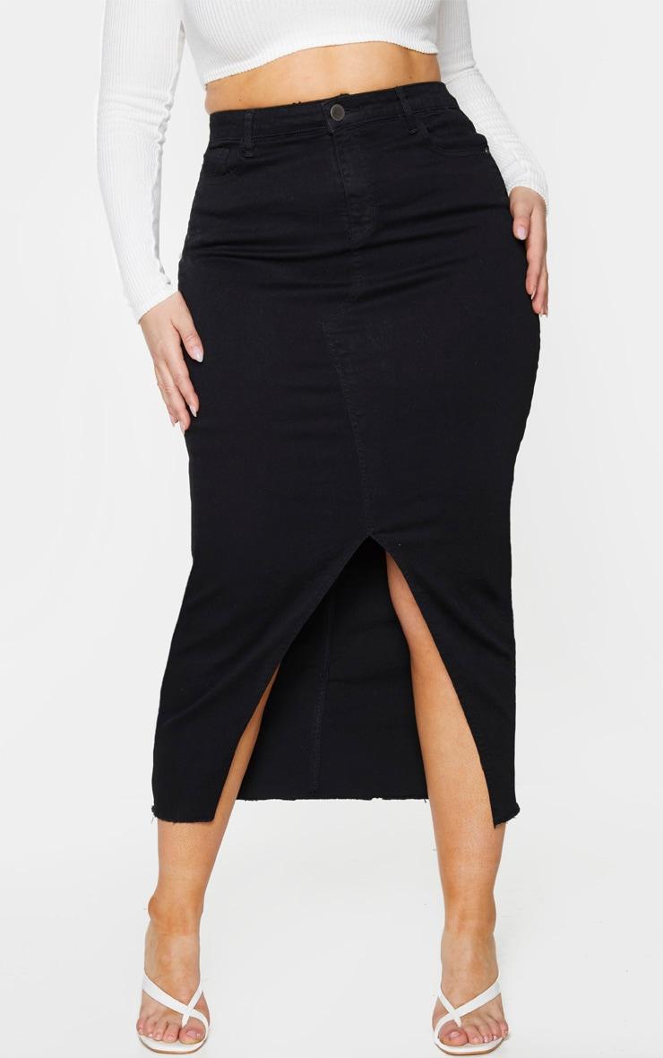 Plus Black Denim Split Hem Midaxi Skirt 2