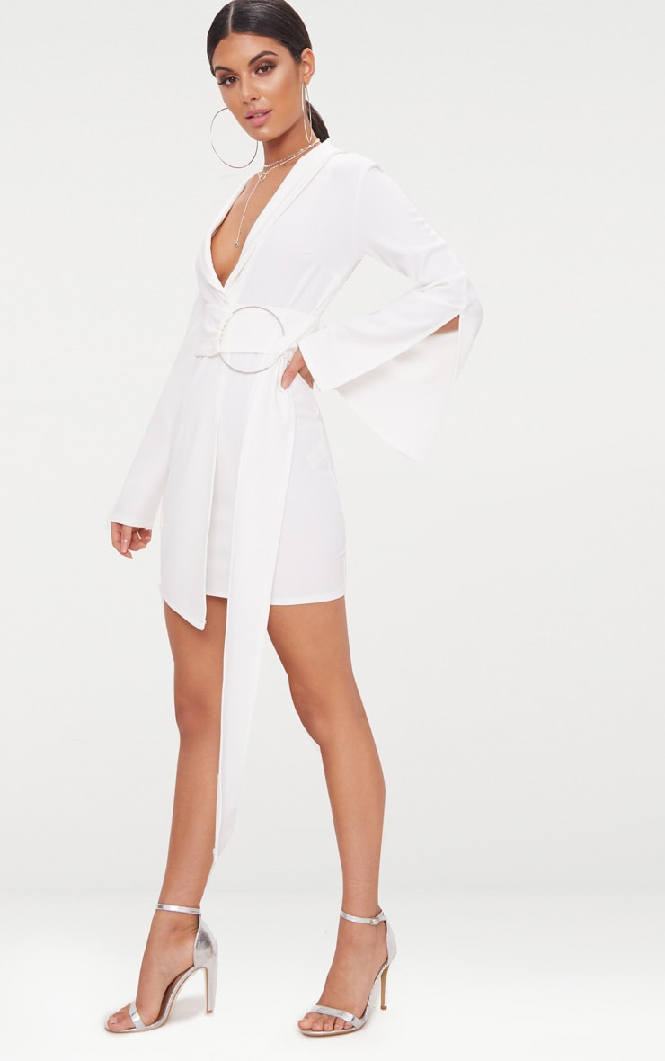 White Oversized Ring Detail Blazer Dress 3