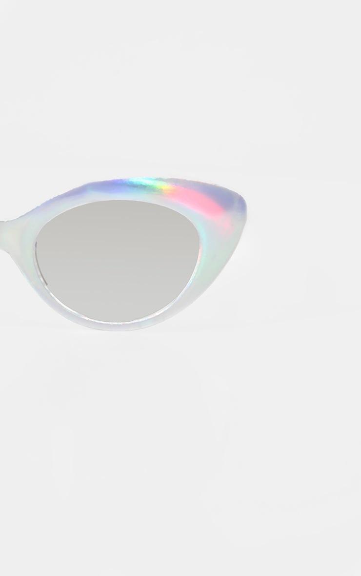 Iridescent Frame  Silver Lens Oval Cat Eye Sunglasses 3