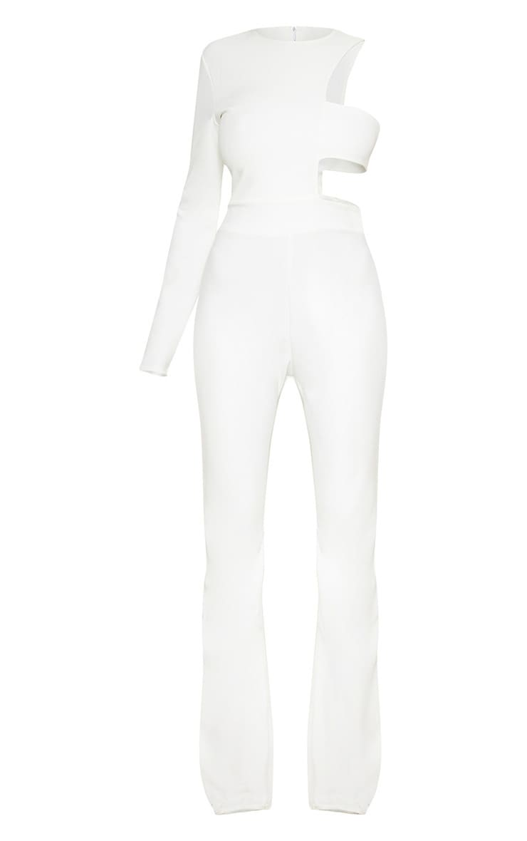 White One Shoulder Flare Jumpsuit 3