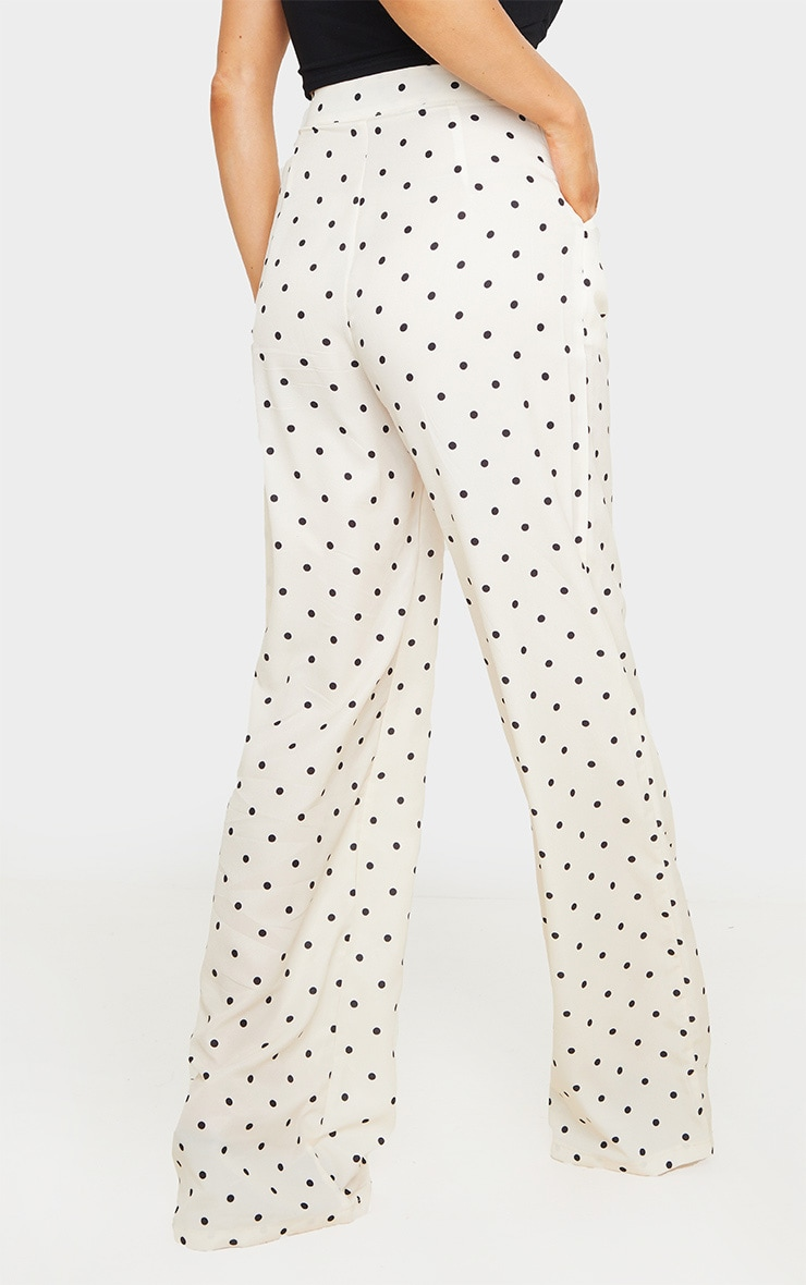 Cream Polka Dot Print Wide Leg Pants 4