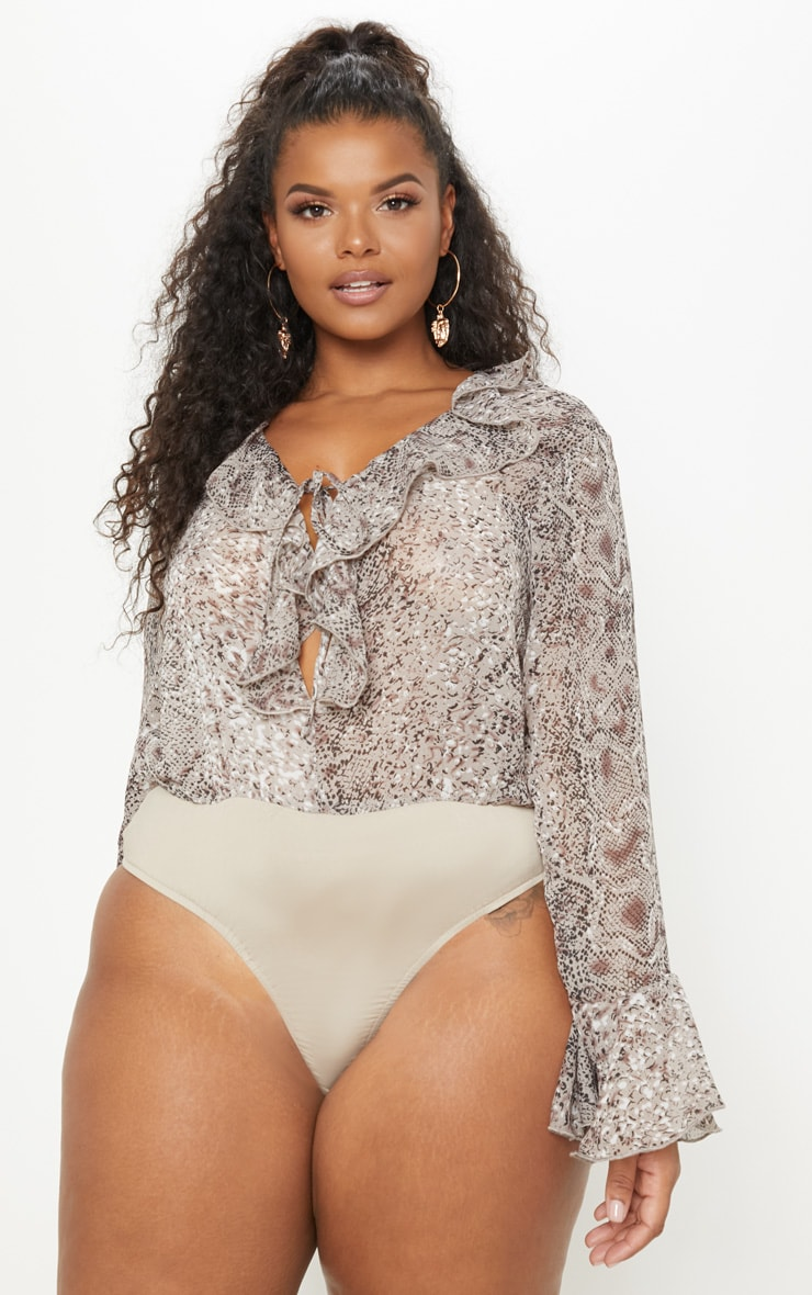 Plus Taupe Chiffon Snake Tie Front Bodysuit 2