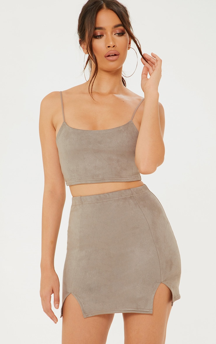 501c30a72ef88 Shoptagr | Grey Faux Suede Side Split Mini Skirt by Prettylittlething