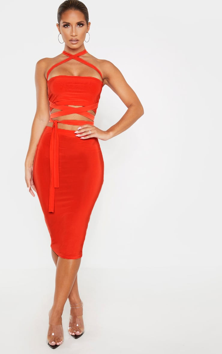 Bright Orange Slinky Tie Detail Bandeau Top 4