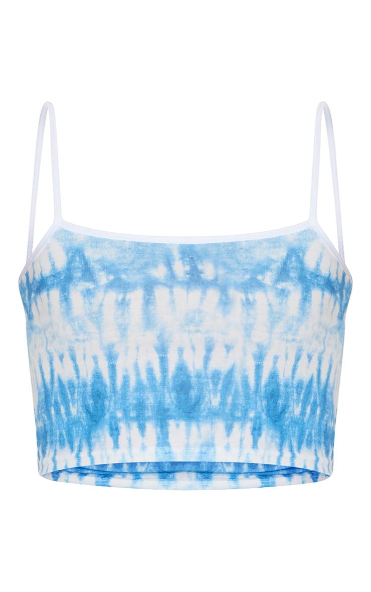Blue Jersey Contrast Printed Crop Cami Top 5